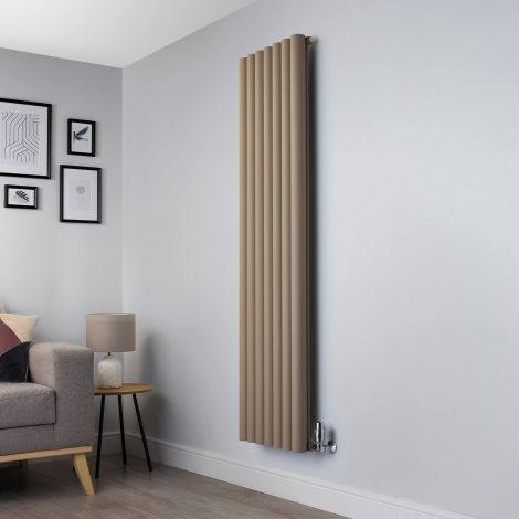 Orb Sand Brown Designer Radiator - 1800mm high x 485mm wide