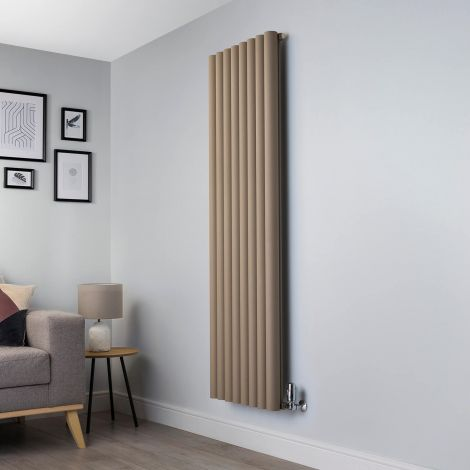 Orb Sand Brown Designer Radiator - 1800mm high x 555mm wide