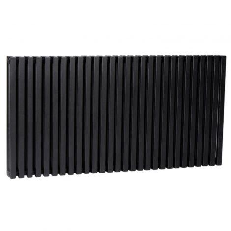 Sheffield D Profile Black Horizontal Double Panel Designer Radiator - Multiple Sizes