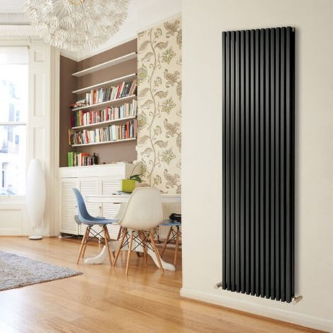 Sheffield D Profile Black Vertical Double Panel Designer Radiator - Multiple Sizes