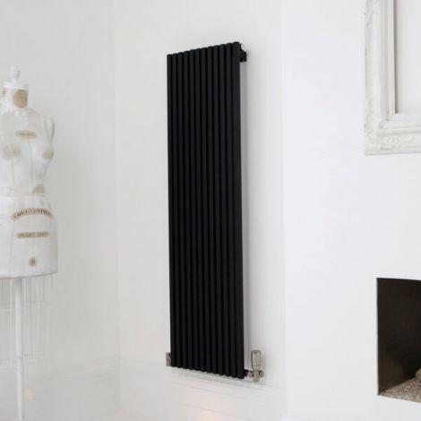 Sheffield D Profile Black Vertical Single Panel Designer Radiator - Multiple Sizes