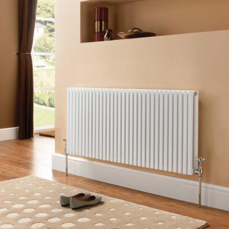 Sheffield D Profile White Vertical Single Panel Designer Radiator - Multiple Sizes