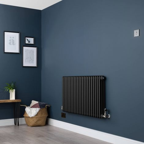 Old Style Three Column Smooth Matt Black Traditional Radiator - 600mm high x 1059mm wide