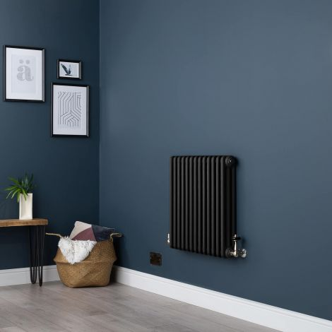 Old Style Small Three Column Smooth Matt Black Traditional Radiator - 600mm high x 609mm wide