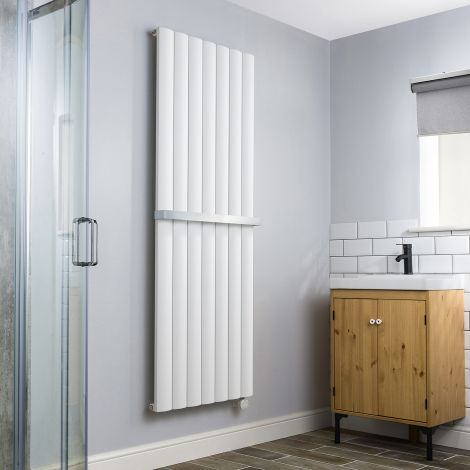 Aero White High Output Thermostatic Electric Towel Radiator - 1800mm high x 660mm wide