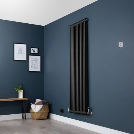 Old Style Vertical Two Column Smooth Matt Black Traditional Radiator - 1800mm high x 564mm wide