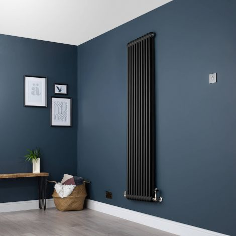 Old Style Vertical Two Column Smooth Matt Black Traditional Radiator - 1800mm high x 474mm wide
