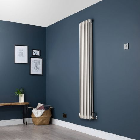 Old Style Vertical Slim Three Column White Hammered Gold Traditional Radiator - 1800 x 339mm