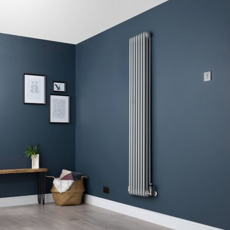 Old Style Thin Light Grey 3 Column Radiator 1800 x 339mm