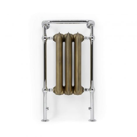 Terma Plain Towel Rail (Antique Brass and Chrome) - 900mm x 490mm - Front