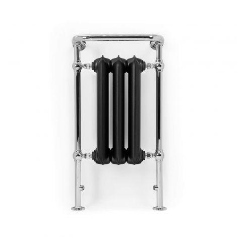 Terma Plain Towel Rail (Flat Black and Chrome) - 900mm x 490mm - front