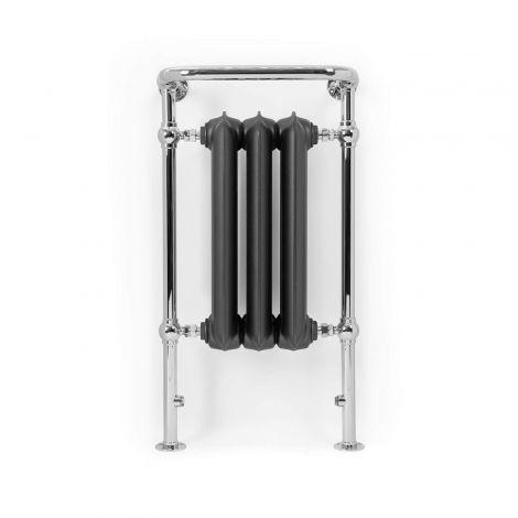 Terma Plain Towel Rail (Raw Metal and Chrome) - 900mm x 490mm - Front