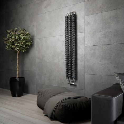 Terma Ribbon Metallic Grey Vertical Designer radiator - 1720mm x 290mm