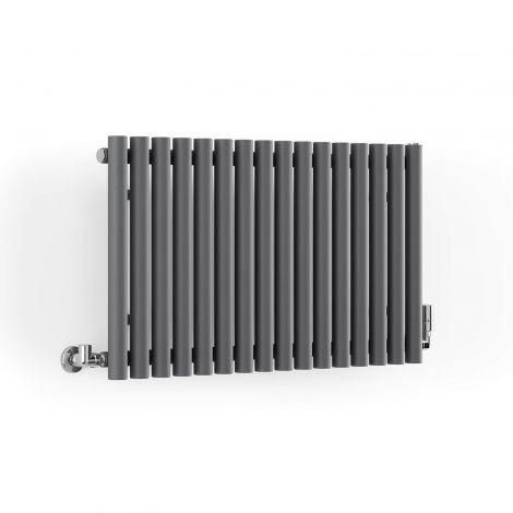 Terma Rolo Modern Grey Horizontal Radiator - 500mm x 865mm - Angled