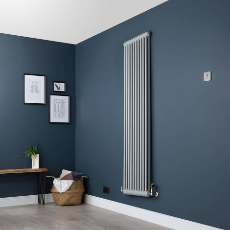 Old Style Vertical Two Column Light Grey Traditional Radiator - 1800mm high x 474mm wide