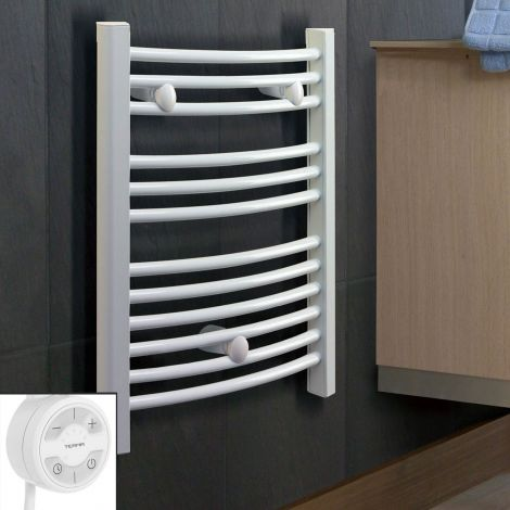 White Curved Ladder Slim Thermostatic Electric Towel Rail 800mm high x 400mm wide