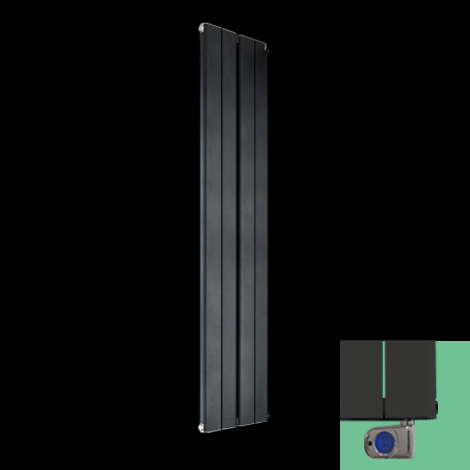 Torpedo Electric Vertical Anthracite Slim Radiator 1800mm high x 395mm wide