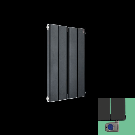 Torpedo Electric Anthracite Horizontal Slimline Small Designer Radiator 600mm high x 395mm wide