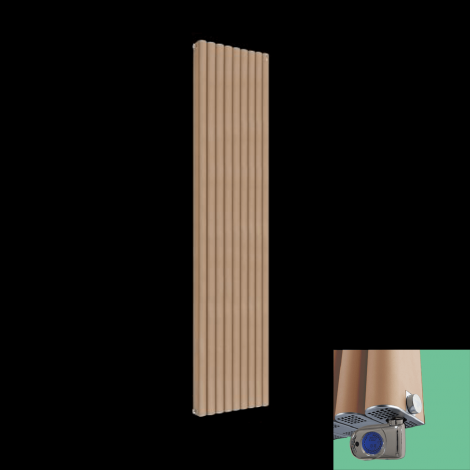 Torpedo Thermostatic Electric Sand Brown Radiator 1800mm high x 445mm wide