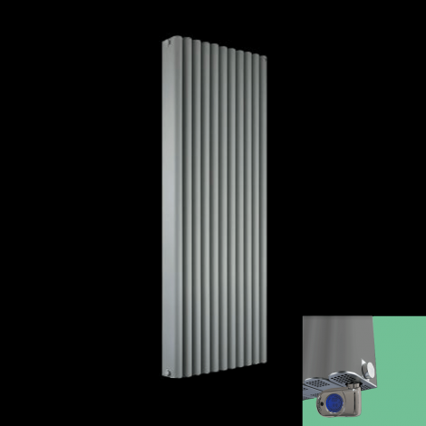 Torpedo Light Grey Thermostatic Electric Radiator 1500mm high x 545mm wide