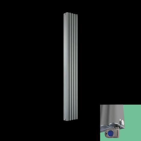 Torpedo Electric Thermostatic Grey Designer Radiator 1800mm high x 245mm wide