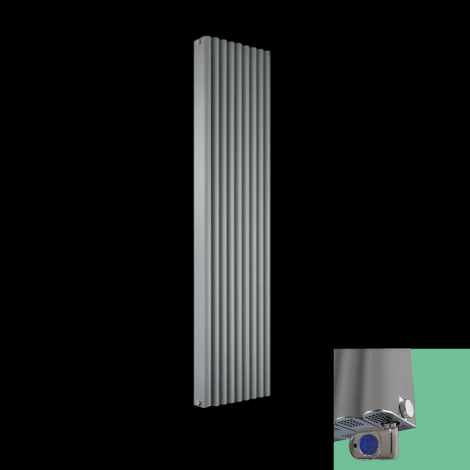 Torpedo Thermostatic Electric Grey Radiator 1800mm high x 445mm wide