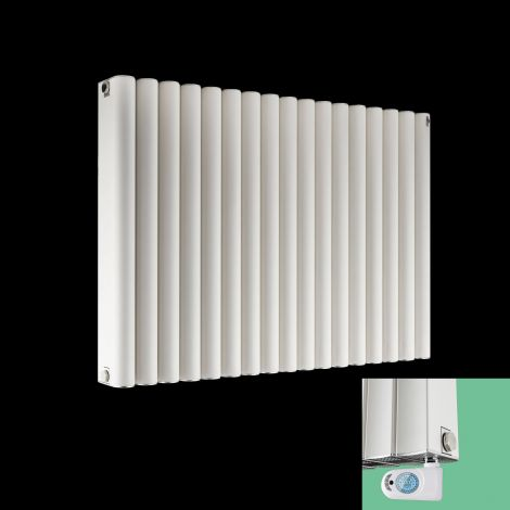 Torpedo Electric Thermostatic White Radiator 600mm high x 845mm wide