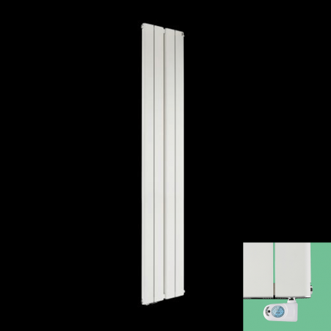 Torpedo Electric Vertical White Slim Radiator 1800mm high x 395mm wide