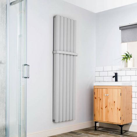 Venn Light Grey Heated Towel Rail - Lifestyle