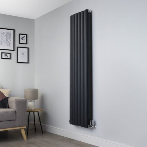 Venn Anthracite Vertical Tall Narrow Designer Radiator - 1750mm high x 480mm wide