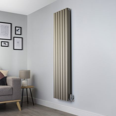 Venn Champagne Gold Vertical Tall Narrow Designer Radiator - 1750mm high x 480mm wide