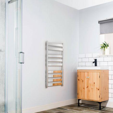Vesu Chrome Designer Heated Towel Rail 950mm high x 500mm wide