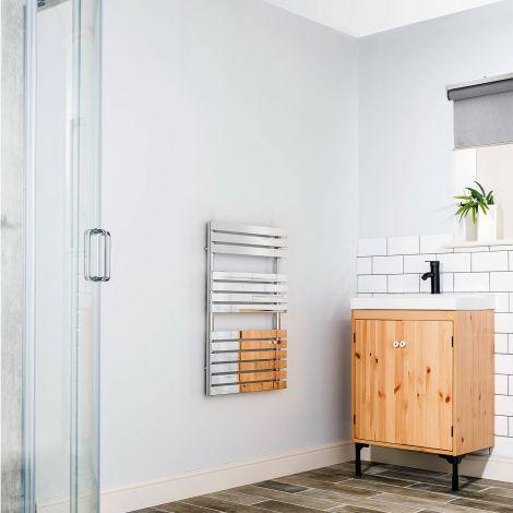 Wallpan Chrome Designer Heated Towel Rail 800mm high x 500mm wide