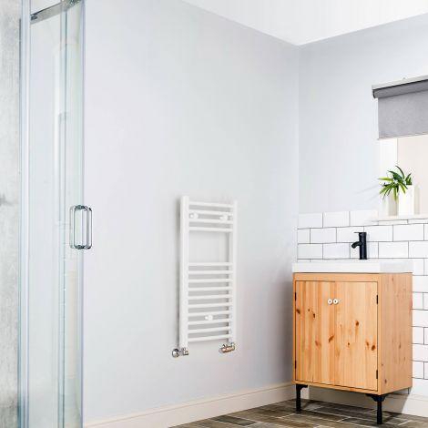 White Curved Ladder Slim Heated Towel Rail 800mm high x 400mm wide