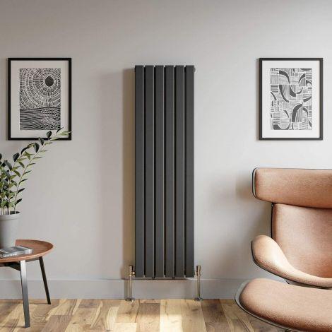 York Textured Black Flat Single Panel Vertical Designer Radiator - Multiple Size Options