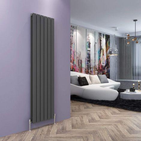 York Textured Black Flat Double Panel Vertical Designer Radiator - Multiple Size Options