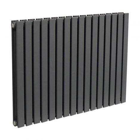 York Textured Black Flat Double Panel Horizontal Designer Radiator - Multiple Size Options