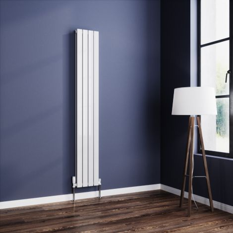 York White Flat Double Panel Vertical Designer Radiator - Multiple Size Options