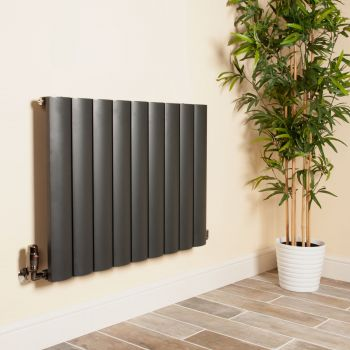 Aero Anthracite Horizontal Designer Radiator - 600mm high x 850mm wide