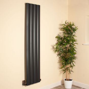 Aero Anthracite Vertical Tall Skinny Designer Radiator - 1800mm high x 375mm wide