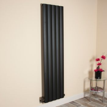 Aero Black Vertical Tall Slim Designer Radiator - 1800mm high x 470mm wide