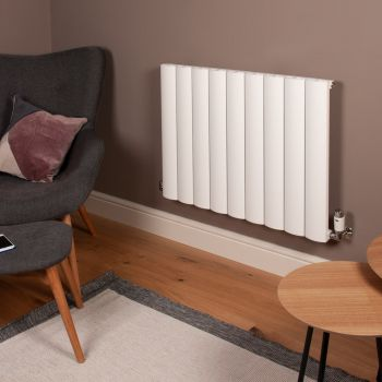 Aero White Horizontal Designer Radiator - 600mm high x 850mm wide