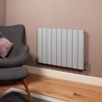 Aero Mid Grey Space Saving Horizontal Designer Radiator - 600mm high x 850mm wide