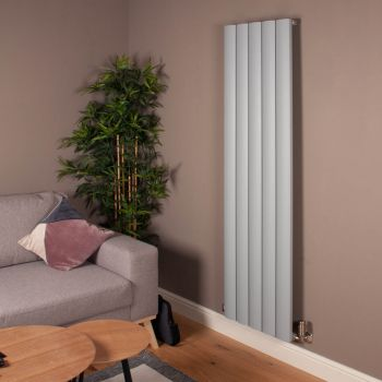Aero Mid Grey Vertical Tall Slim Designer Radiator - 1800mm high x 470mm wide