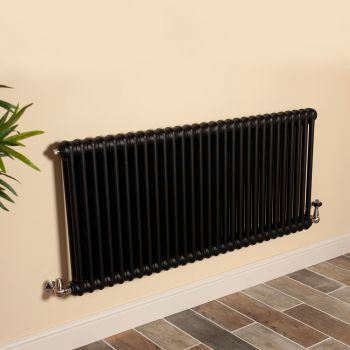 Old Style Matt Anthracite 2 Column Radiator 600mm high x 1329mm wide