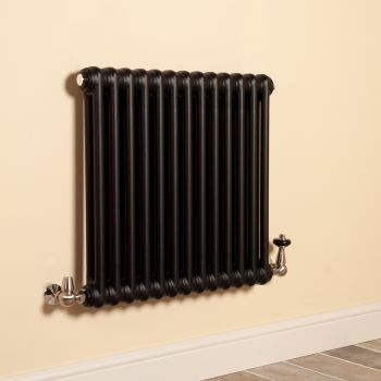 Old Style Matt Anthracite 2 Column Radiator 600mm high x 609mm wide