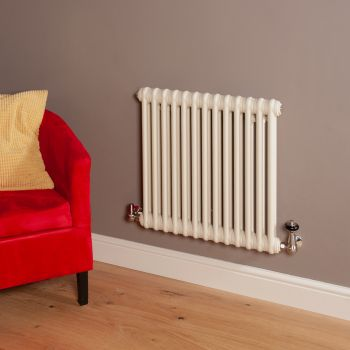Old Style Matt Cream 2 Column Radiator 600mm high x 609mm wide