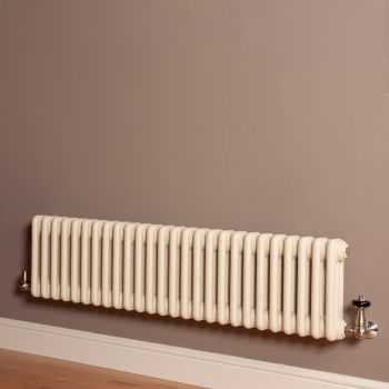 Old Style Low Level Matt Cream 3 Column Radiator 300mm high x 1194mm wide