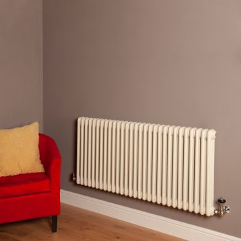 Old Style Matt Cream 3 Column Radiator 600mm high x 1329mm wide