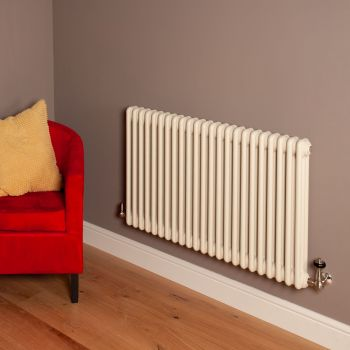 Old Style Matt Cream 3 Column Radiator 600mm high x 1059mm wide